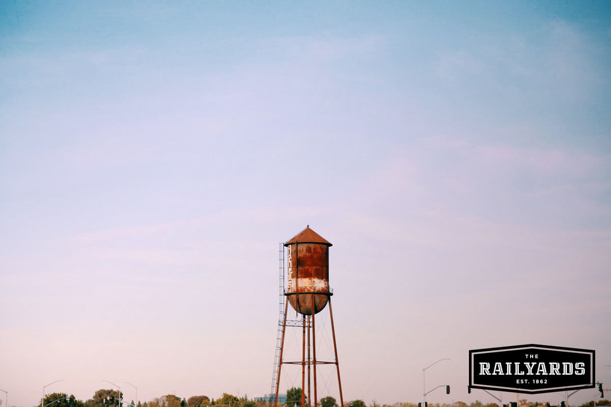 The Railyards' water tower, one of five fascinating historic resources on the property.