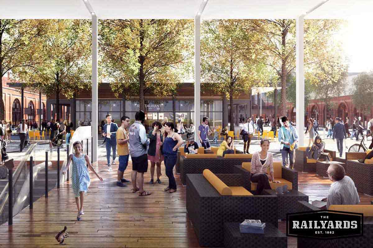 A rendering of Sacramentans enjoying the Central Shops at the Railyards.