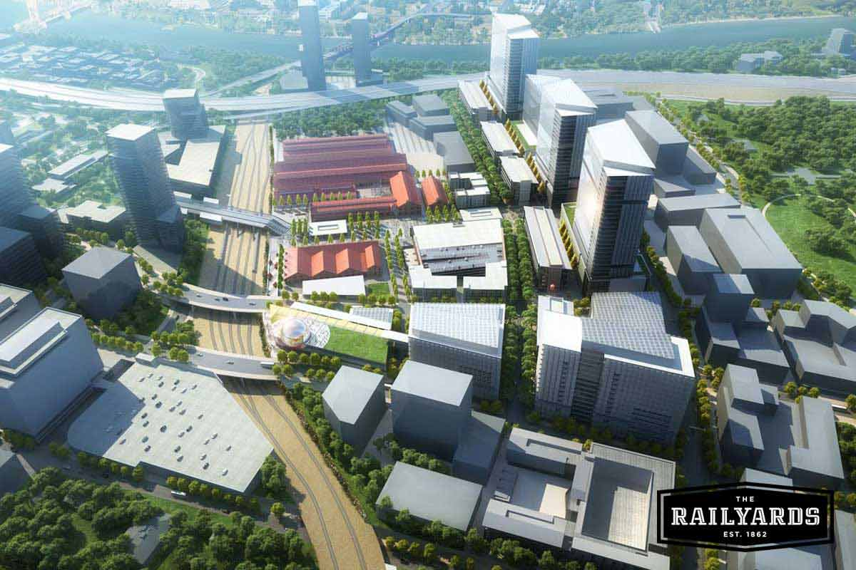 An overview of the Railyards including the planned Central Shops and other features, like the Kaiser Medical Center.