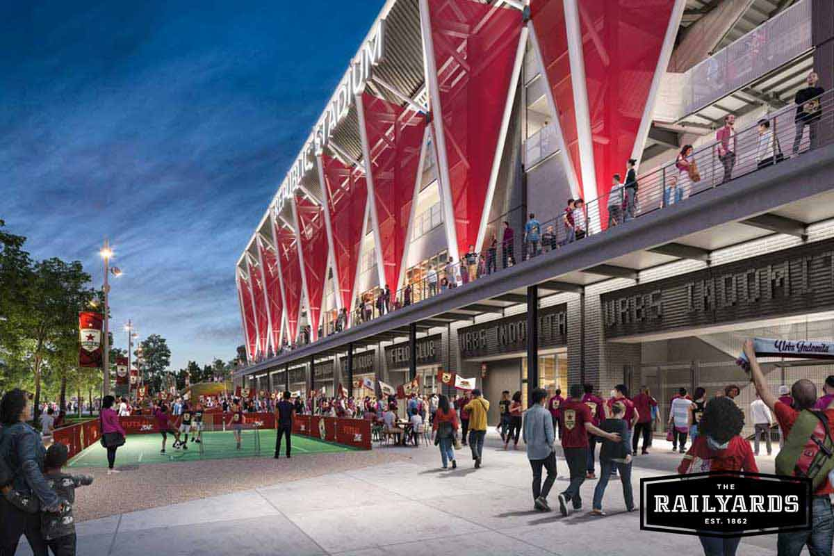 A rendering of the exterior view of the Sacramento MLS Stadium at the Railyards.