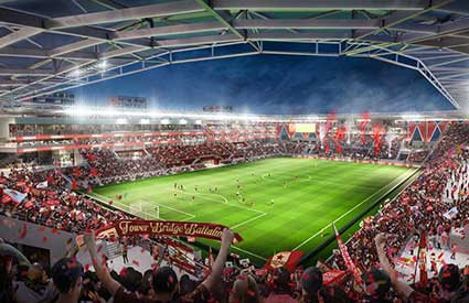 The Railyards major league soccer stadium rendering